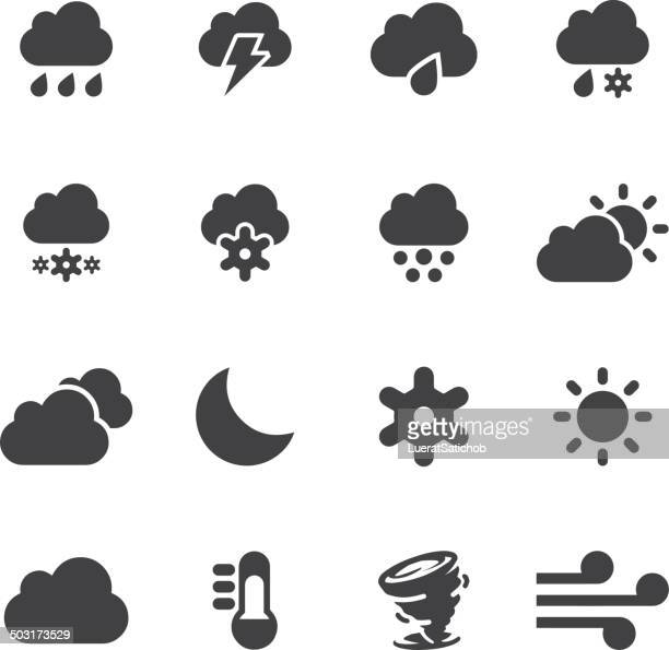 weather silhouette icons 2 | eps10 - sleet stock illustrations, clip art, cartoons, & icons
