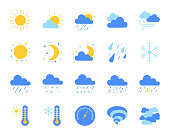Weather simple flat color icons vector set