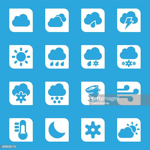 weather sky blue silhouette icons 1 | eps10 - sleet stock illustrations, clip art, cartoons, & icons