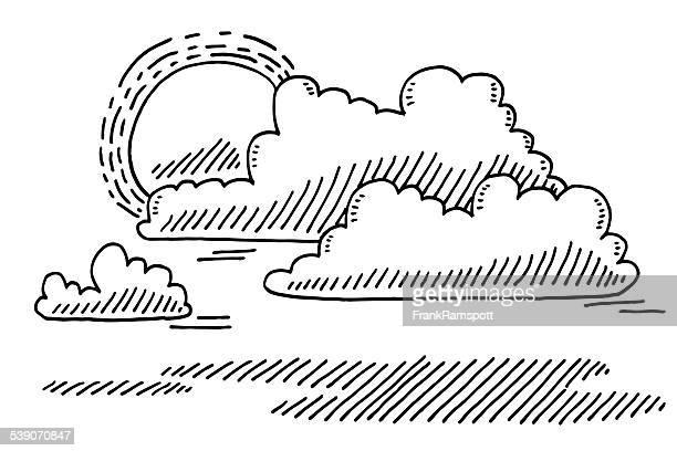 wetter sonne und wolken zeichnung - bedeckter himmel stock-grafiken, -clipart, -cartoons und -symbole