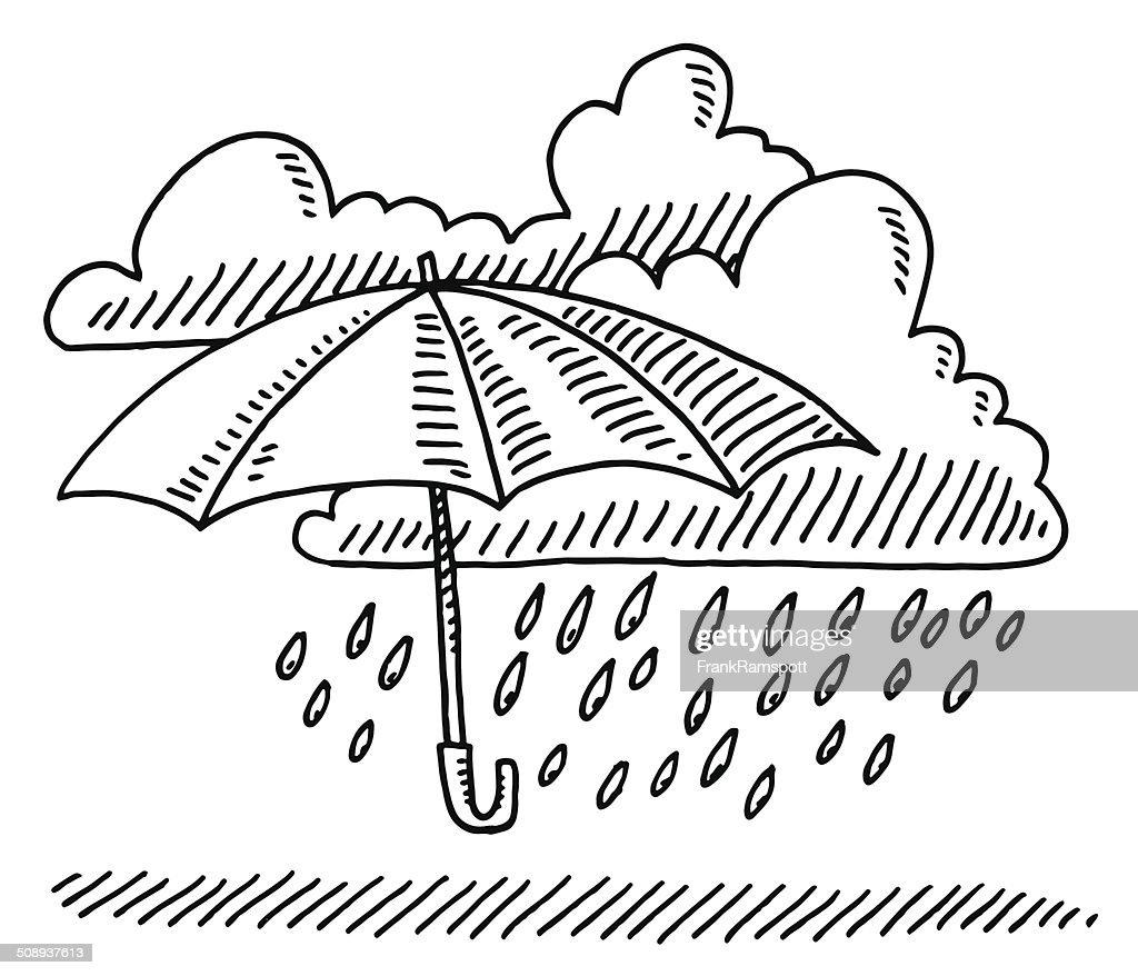 Weather symbol umbrella cloud rain drawing high res vector