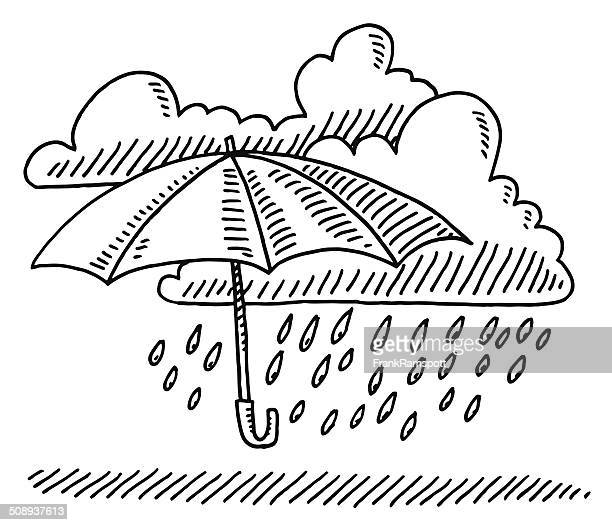 Weather Symbol Umbrella Cloud Rain Drawing