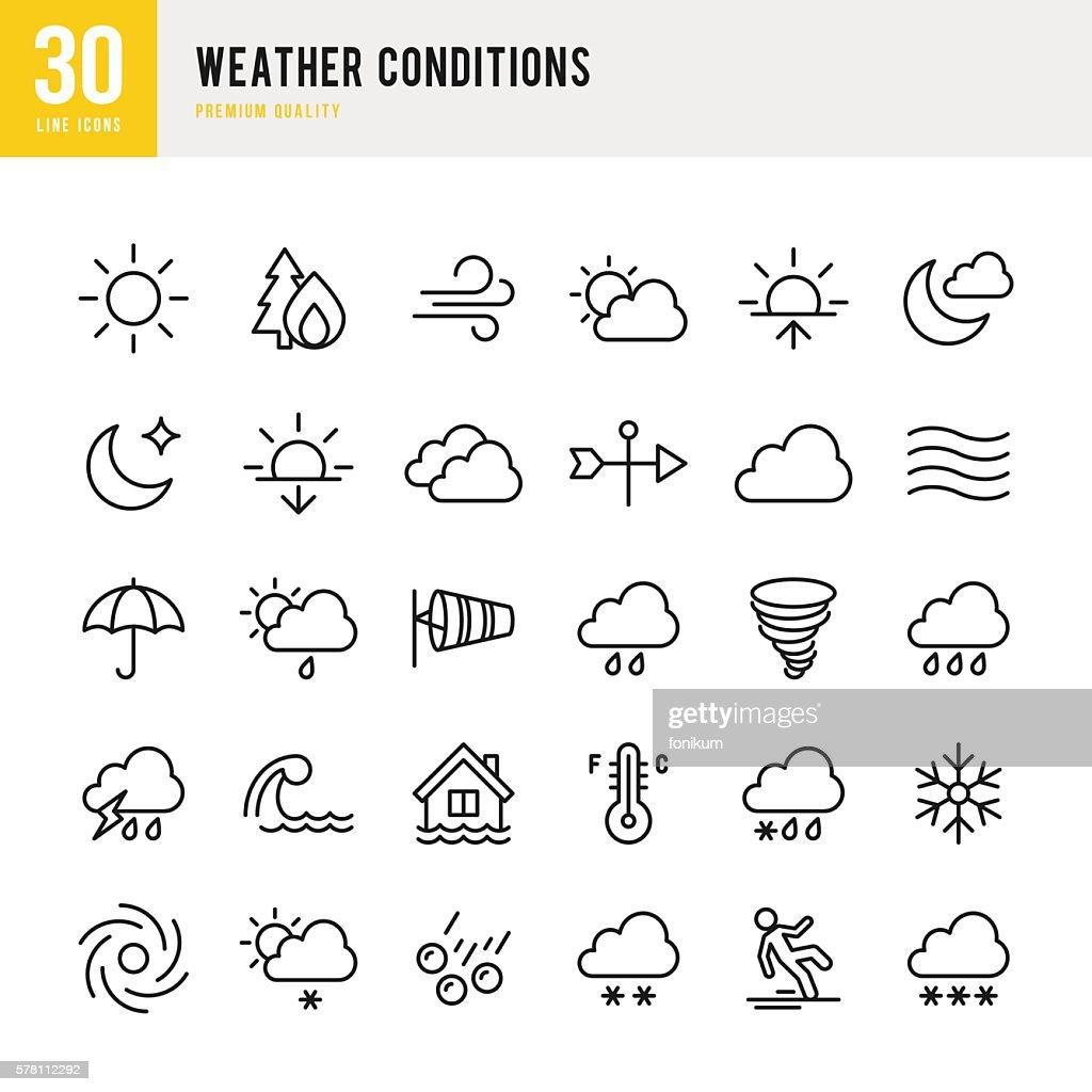 Weather - Thin Line Icon Set : Ilustración de stock