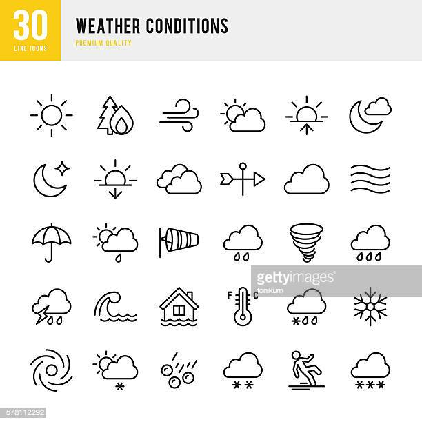 weather - thin line icon set - glühend stock-grafiken, -clipart, -cartoons und -symbole