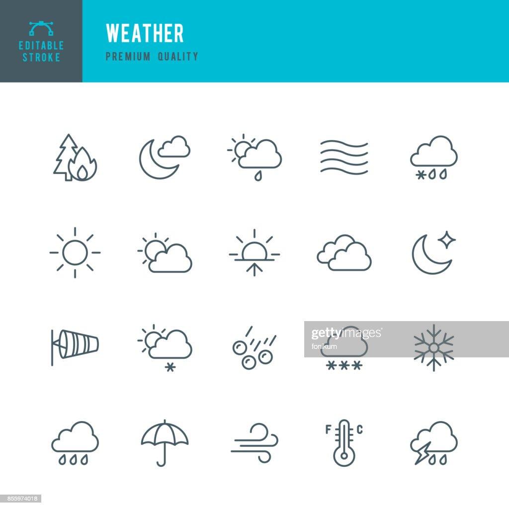 Weather - Thin Line Icon Set : Stock Illustration