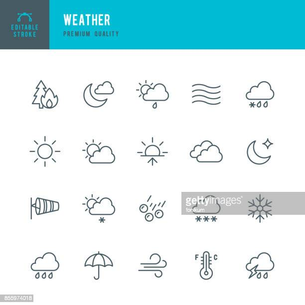 weather - thin line icon set - cloudscape stock illustrations, clip art, cartoons, & icons