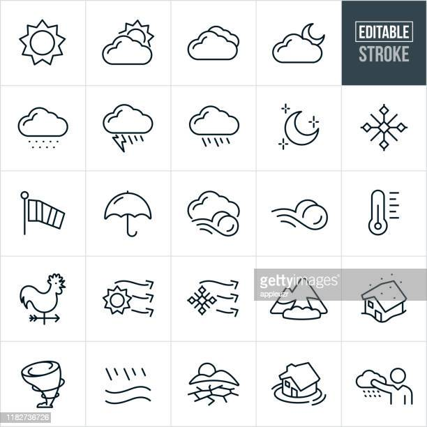 weather thin line icons - editable stroke - blizzard stock illustrations