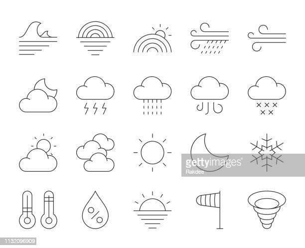 weather - thin line icons - humidity stock illustrations, clip art, cartoons, & icons