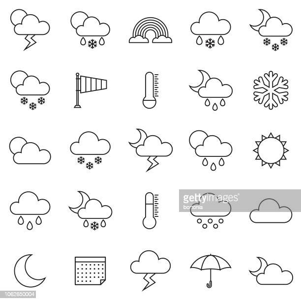weather thin line outline icon set - sleet stock illustrations, clip art, cartoons, & icons