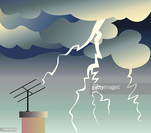 weather - thunder - antenna aerial stock illustrations, clip art, cartoons, & icons
