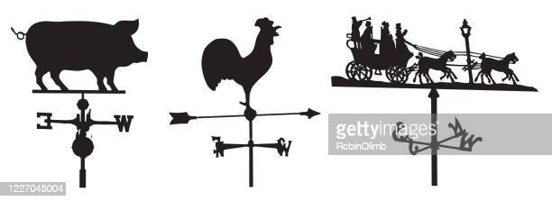 illustrazioni stock, clip art, cartoni animati e icone di tendenza di weather vane silhouette - gallo