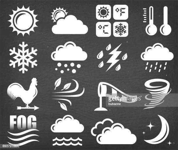 weather vector icon set on black chalkboard - blizzard stock illustrations, clip art, cartoons, & icons