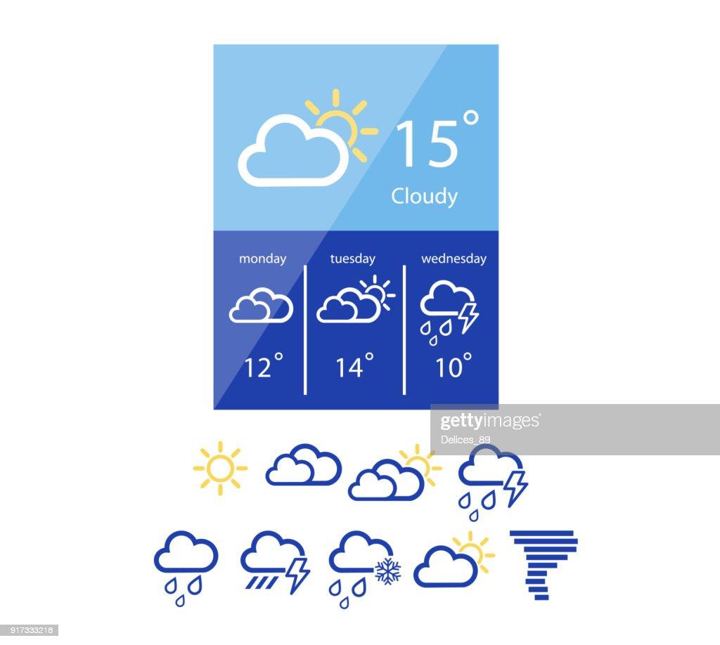 Weather widget in flat style