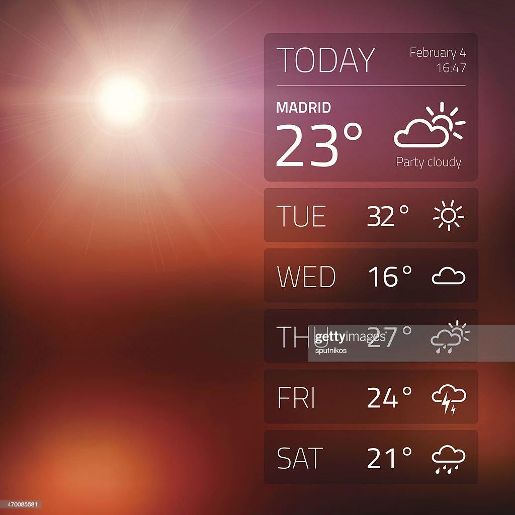 Weather widget template on sunset background