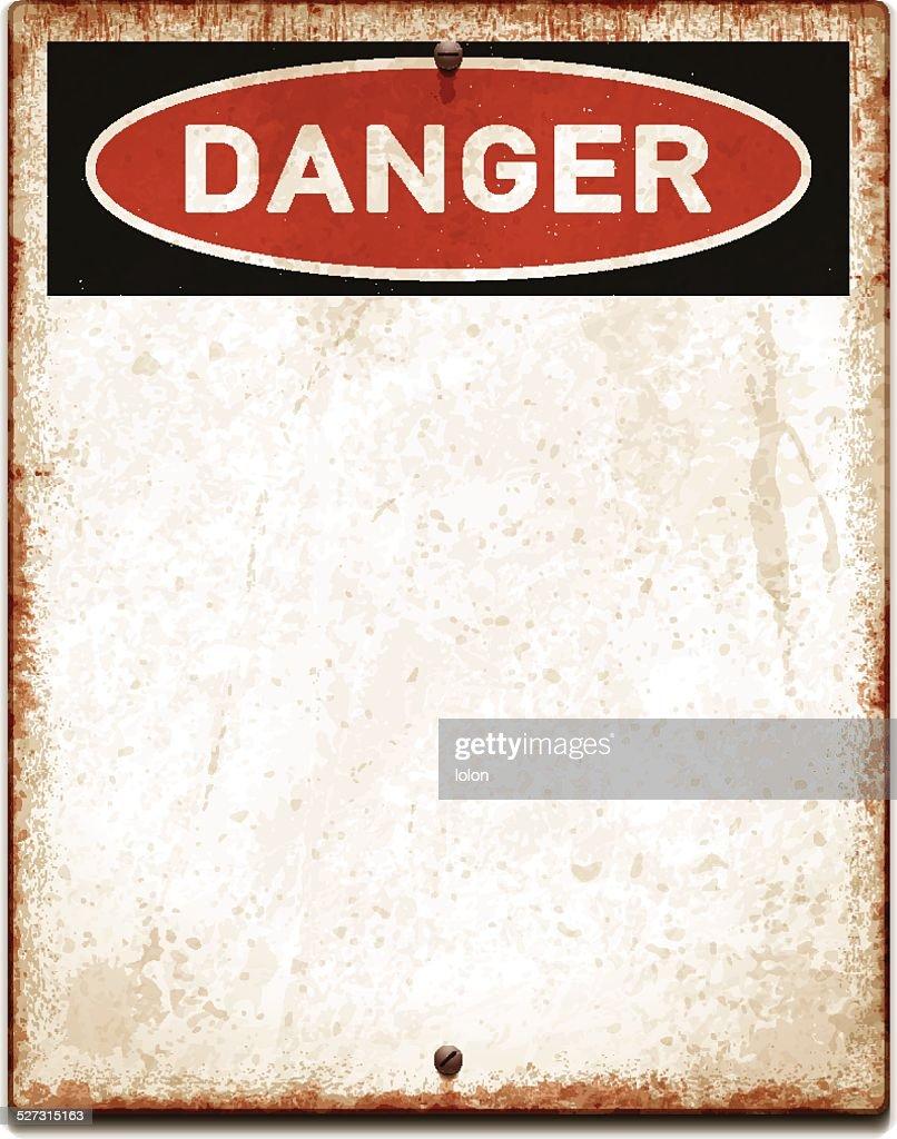 Verwitterte leere Plakat mit Gefahr text und screws_vector : Stock-Illustration