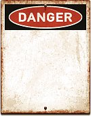 Weathered blank placard with danger text and screws_vector
