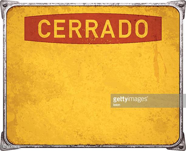 weathered cerrado metal placard with corners and screws_vector - closed sign stock illustrations, clip art, cartoons, & icons