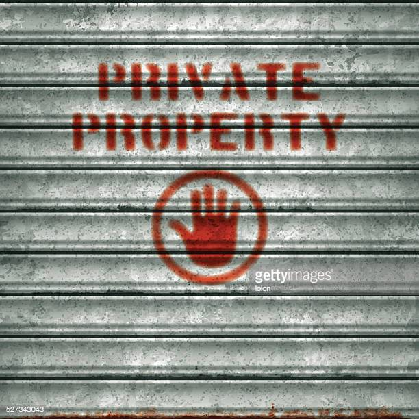 weathered garage roll-up sheet door with airbrushed private property text_vector - private property stock illustrations