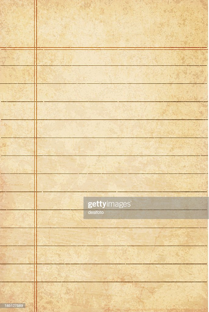 Weathered lined paper that is yellow : Stock Illustration