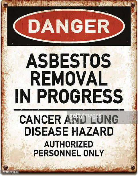 weathered metallic placard with danger asbestos removal warning_vector - asbestos stock illustrations, clip art, cartoons, & icons