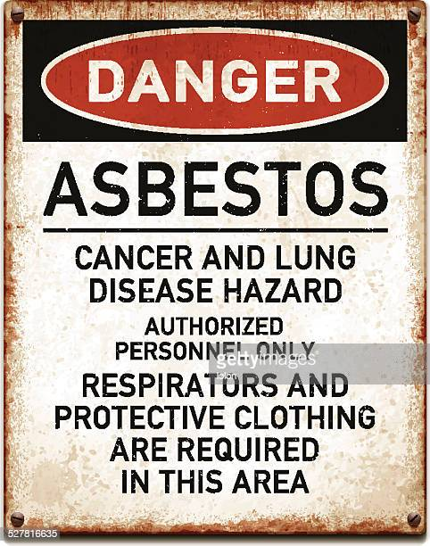 weathered metallic placard with danger asbestos warning_vector - asbestos stock illustrations, clip art, cartoons, & icons
