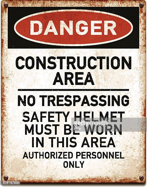 weathered metallic placard with danger construction area warning_vector - asbestos stock illustrations, clip art, cartoons, & icons