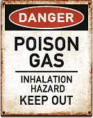 Weathered metallic placard with danger poison gas warning_vector