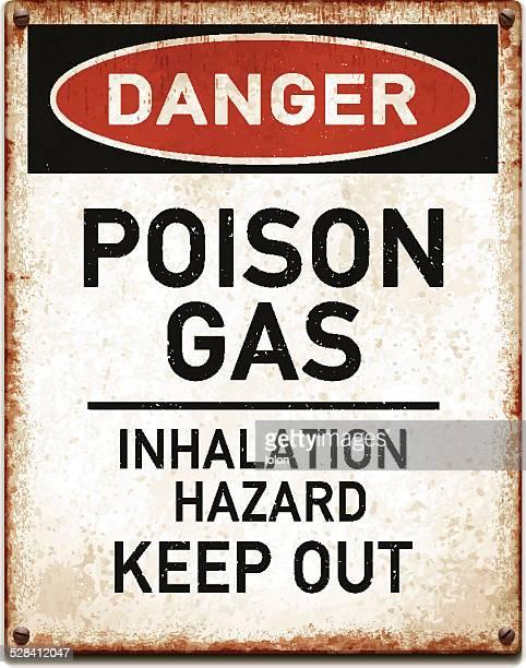 ilustraciones, imágenes clip art, dibujos animados e iconos de stock de curado metálico cartel con peligro de intoxicación warning_vector de gas - cuarentena