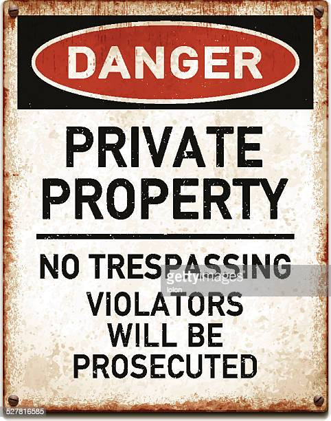 weathered metallic placard with private property warning_vector - private property stock illustrations