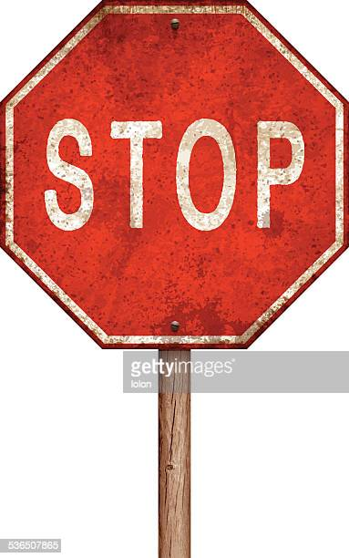 stockillustraties, clipart, cartoons en iconen met weathered stop sign with wooden post isolated on white - lolon