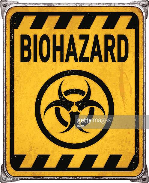 Weathered yellow metal placard with biohazard symbol_vector