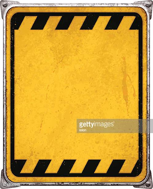 Weathered yellow metal placard with corners and screws_vector