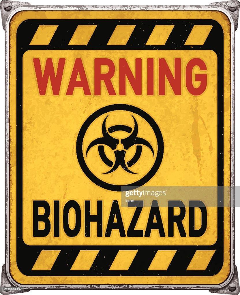 Weathered yellow warning metal placard with biohazard symbol_vector
