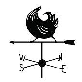 Weathervane - Black running rooster1.