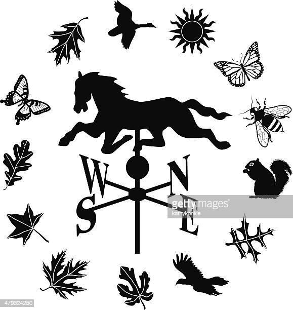 illustrations, cliparts, dessins animés et icônes de weathervane icône boutons avec bordure de feuilles de créatures et de terres agricoles - girouette