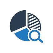 Web analytics, Statistics illustration, pie chart and magnifying glass