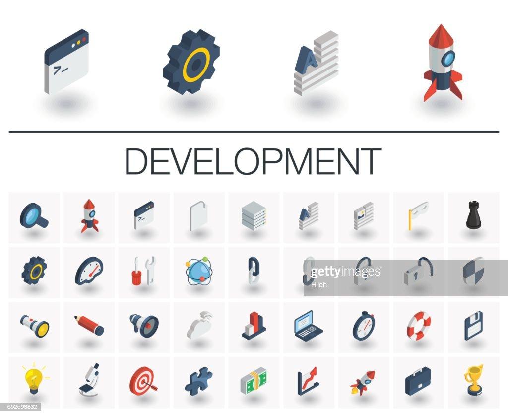 Web and App development isometric icons. 3d vector