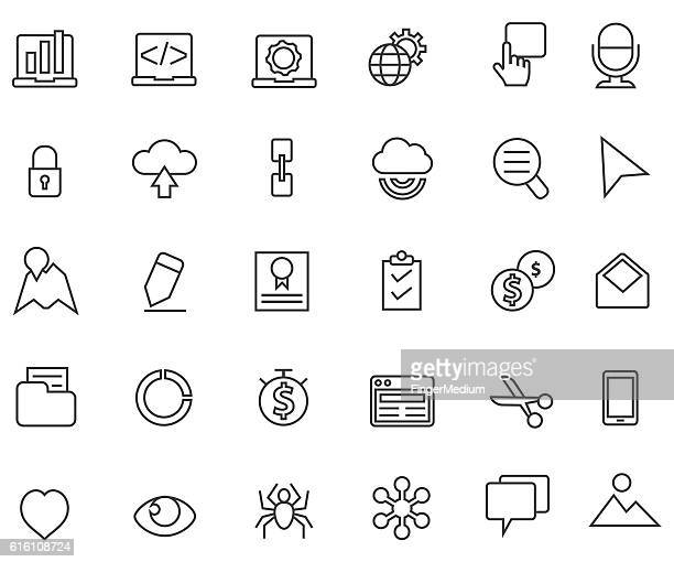 web and business icon set - video editing stock illustrations, clip art, cartoons, & icons