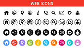 Web and Contact icons set. Vector illustration. stock illustration