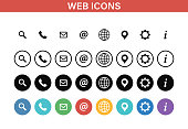 Web and Contact icons set. Vector illustration.