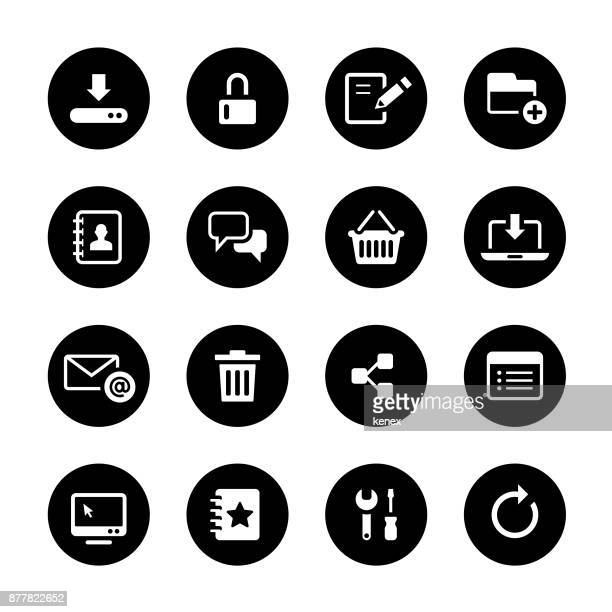illustrations, cliparts, dessins animés et icônes de web et internet cercle icons set - touche de clavier
