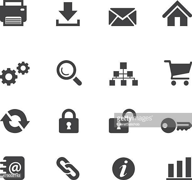 web and internet silhouette icons - printout stock illustrations