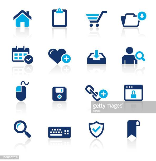 web and internet two color icons set - multimedia stock illustrations