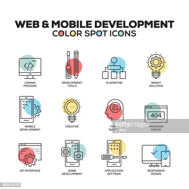 Web and Mobile Development icons. Vector line icons set. Premium quality. Modern outline symbols and pictograms.
