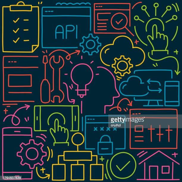 web und mobile entwicklung verwandte doodle illustration. hand gezeichnet vector web und mobile development symbol und icons. - gafam stock-grafiken, -clipart, -cartoons und -symbole
