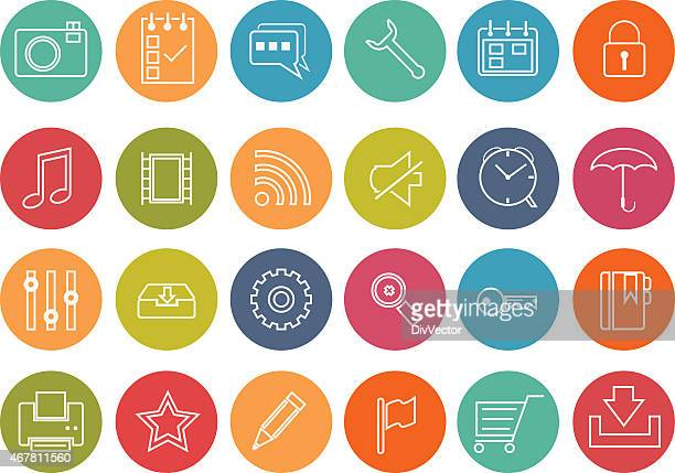 web and mobile icons - video editing stock illustrations, clip art, cartoons, & icons
