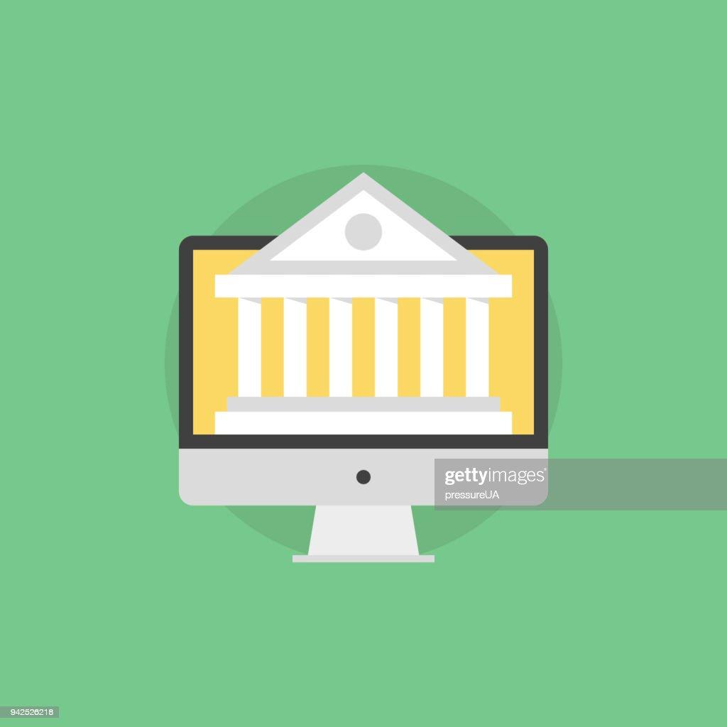 Web banking flat icon illustration