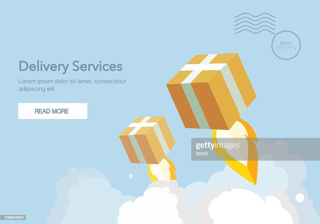 Web banner for Delivery Services and E-Commerce. Flat vector