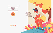 Web banner or landing page with young woman in basic tennis position with racket.