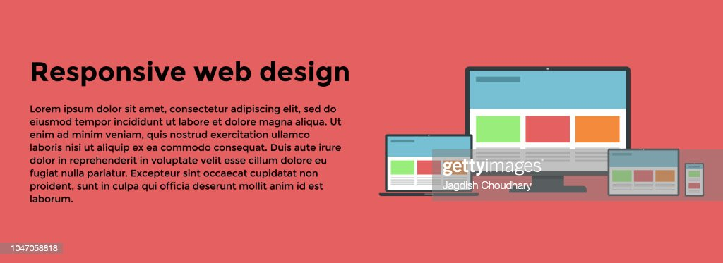 Web Banner with different devices. Vector illustration of a web banner with desktop, laptop, tablet and smartphone. EPS10 compatible